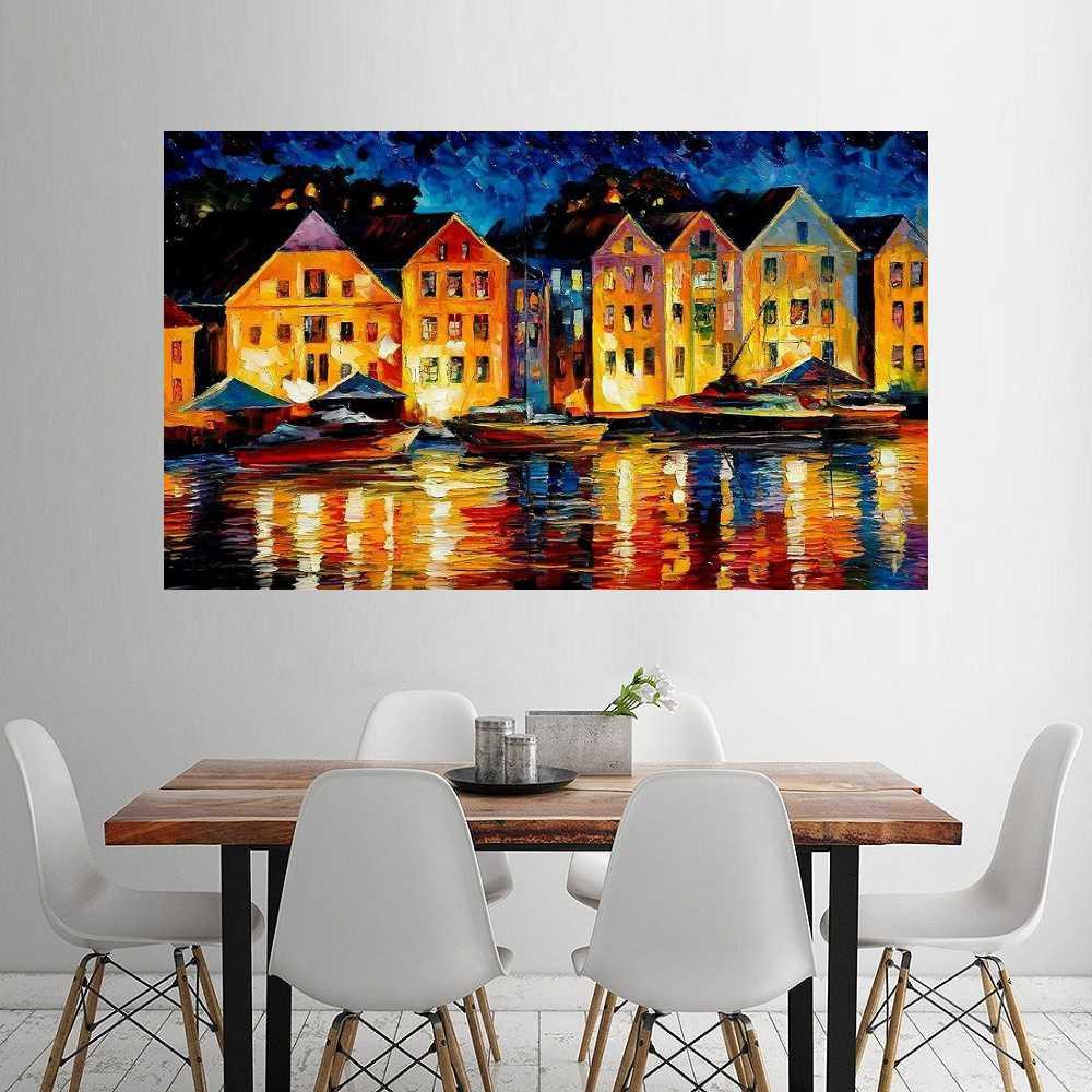 Quadro Pintura Tela Cidade Paisagem Urbana Cod 4018