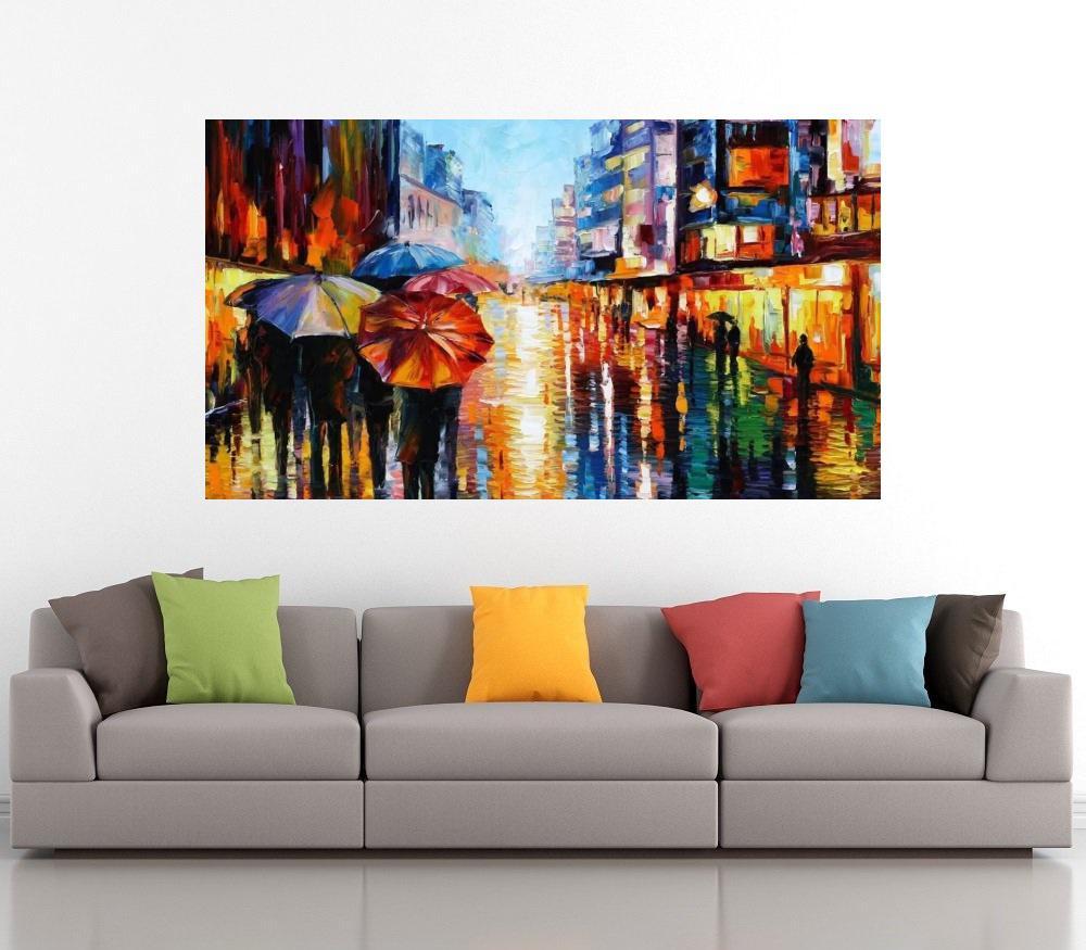 Quadro Pintura Tela Cidade Paisagem Urbana Cod 4025