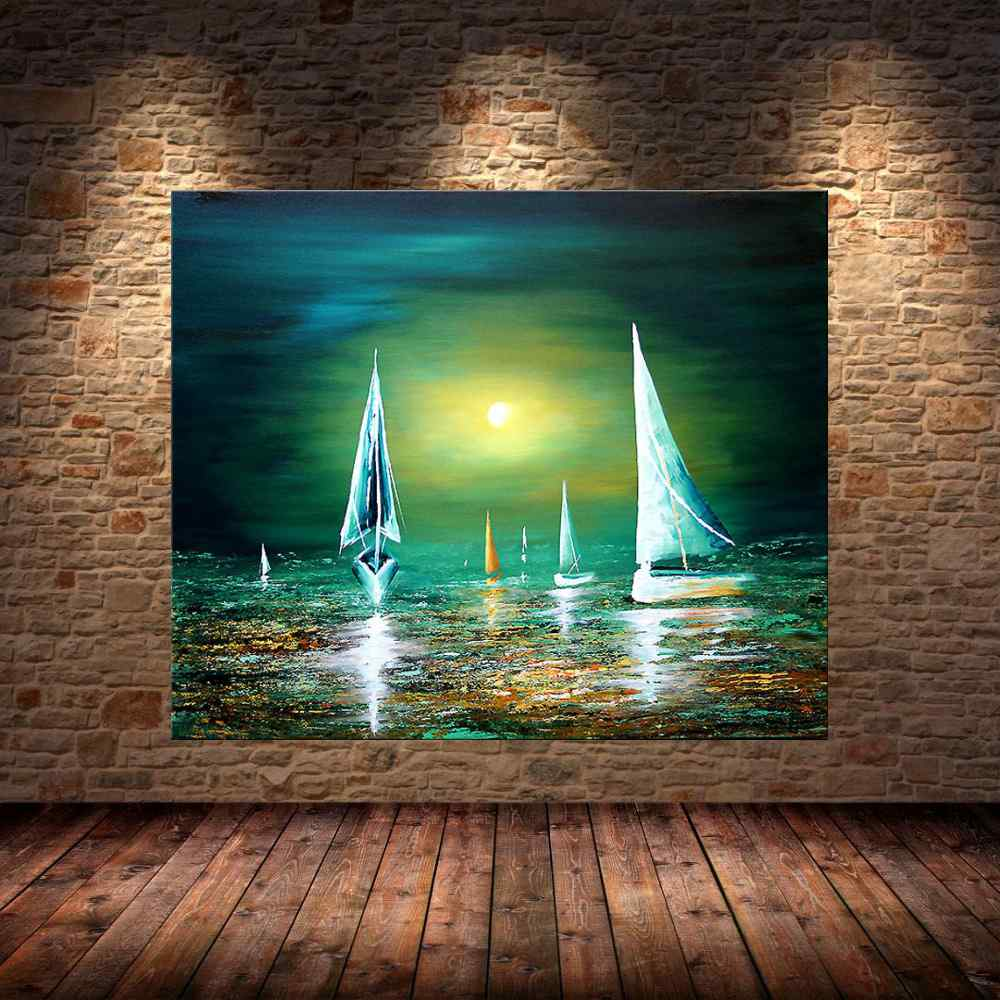Quadro Pintura Tela Moderna Marinas Cod 2008
