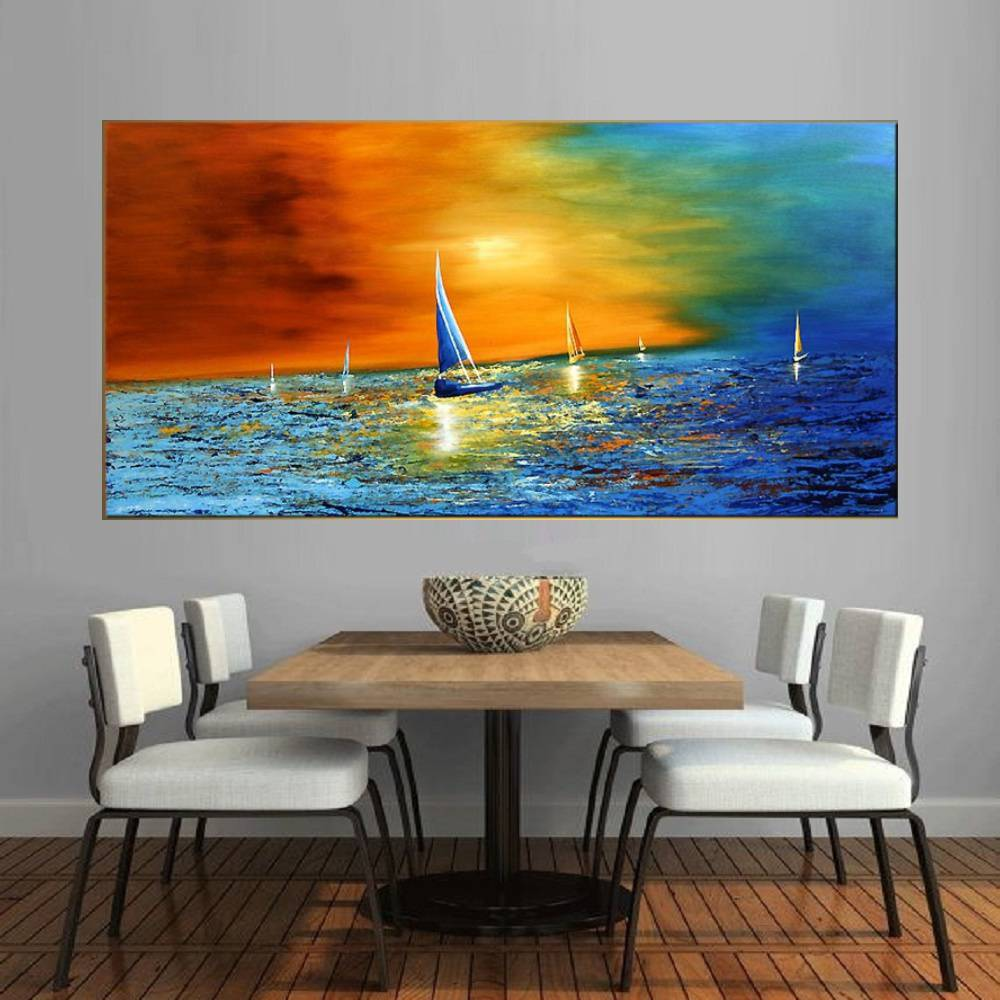 Quadro Pintura Tela Moderna Marinas Cod 2025