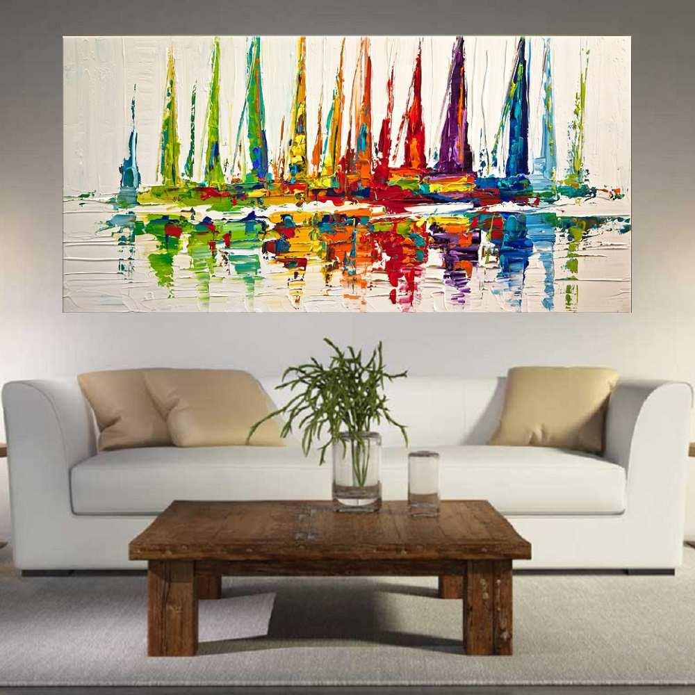 Quadro Pintura Tela Moderna Marinas Cod 2026
