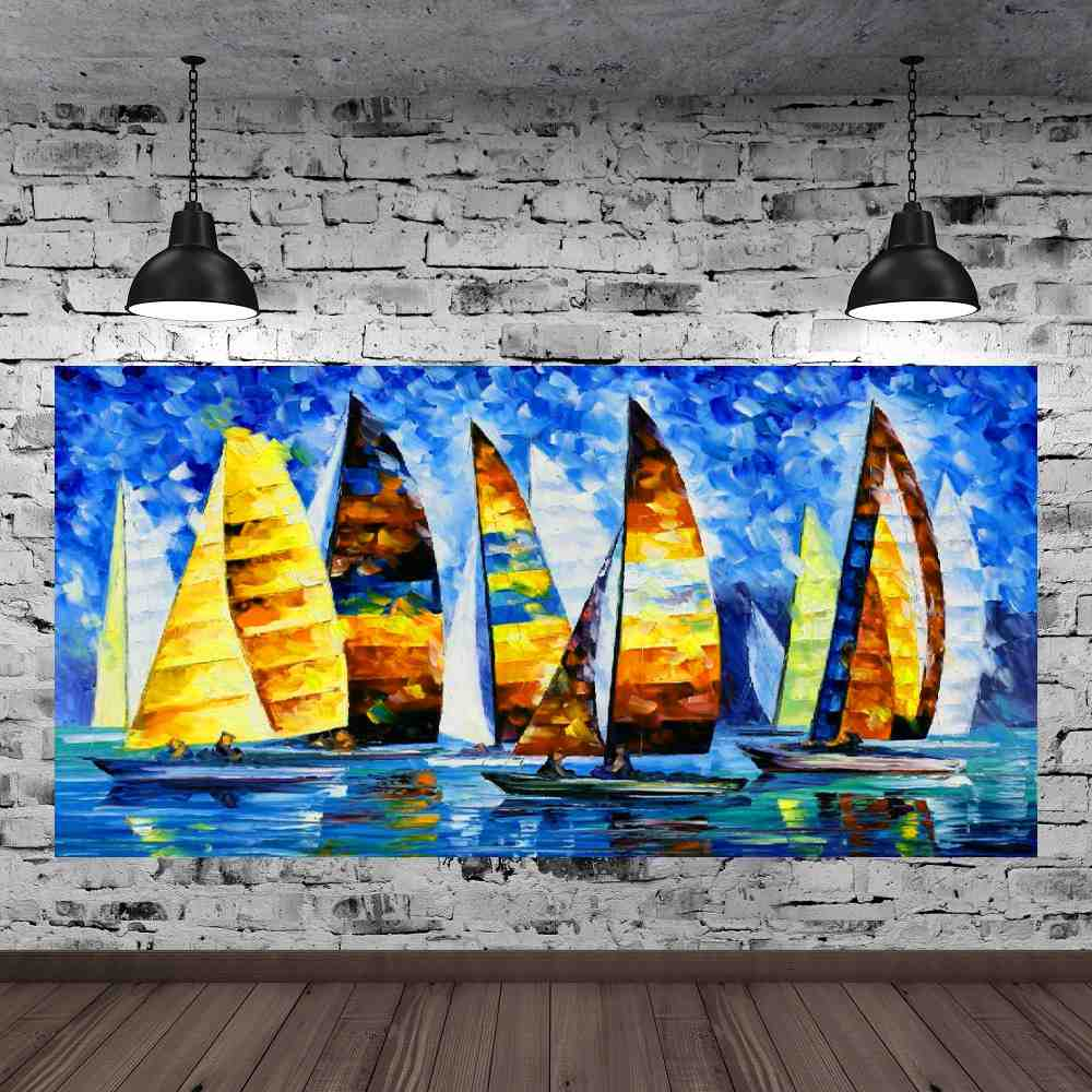 Quadro Pintura Tela Moderna Marinas Cod 2171