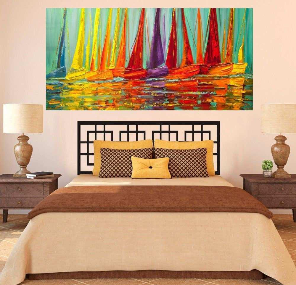 Quadro Pintura Tela Moderna Marinas Cod 2183