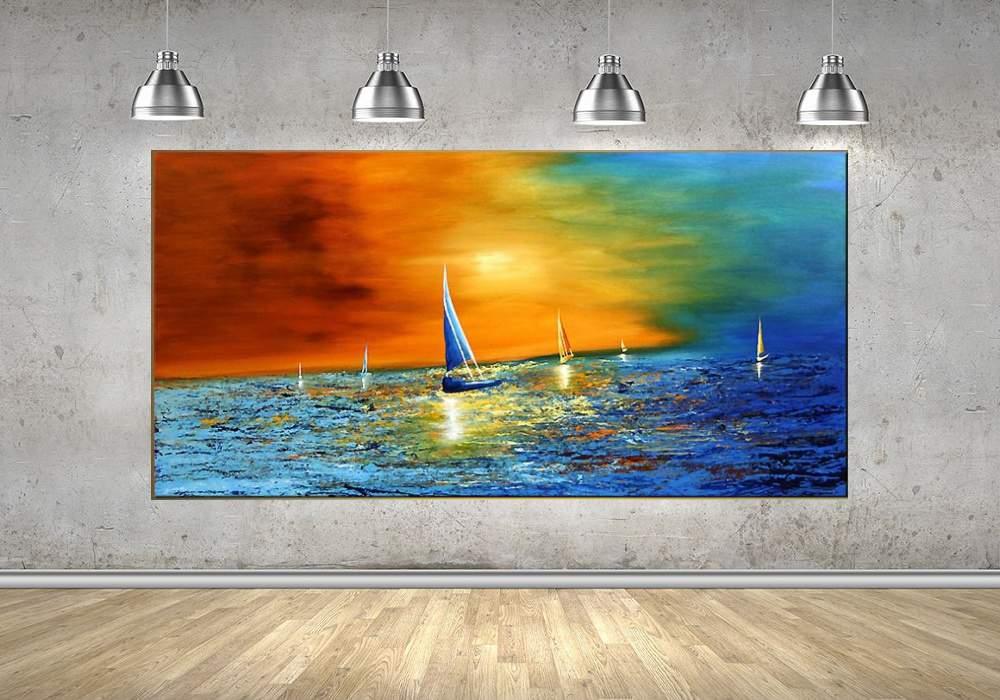 Quadro Pintura Tela Moderna Marinas Cod 2424