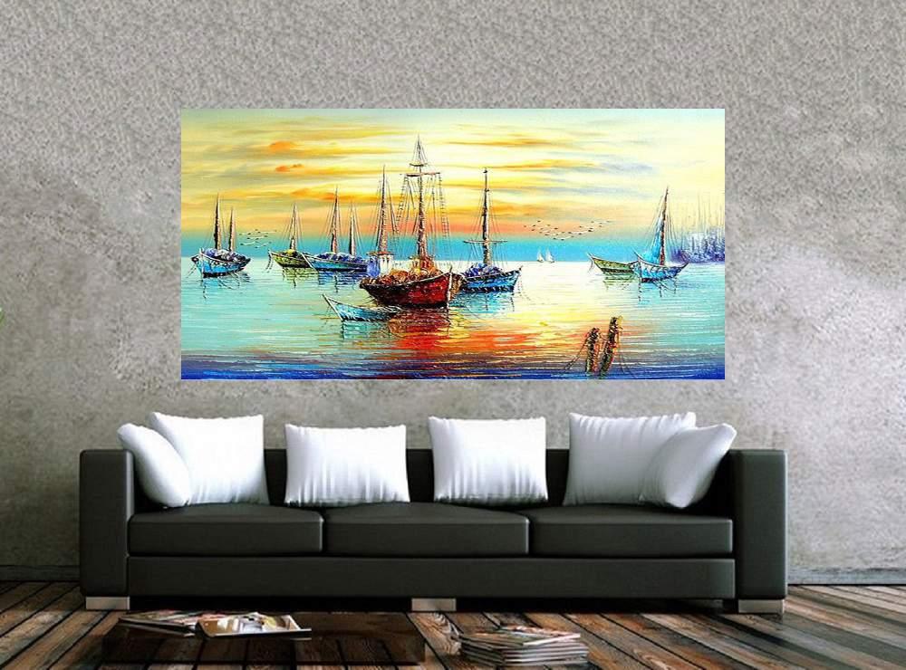 Quadro Pintura Tela Moderna Marinas Cod 2425