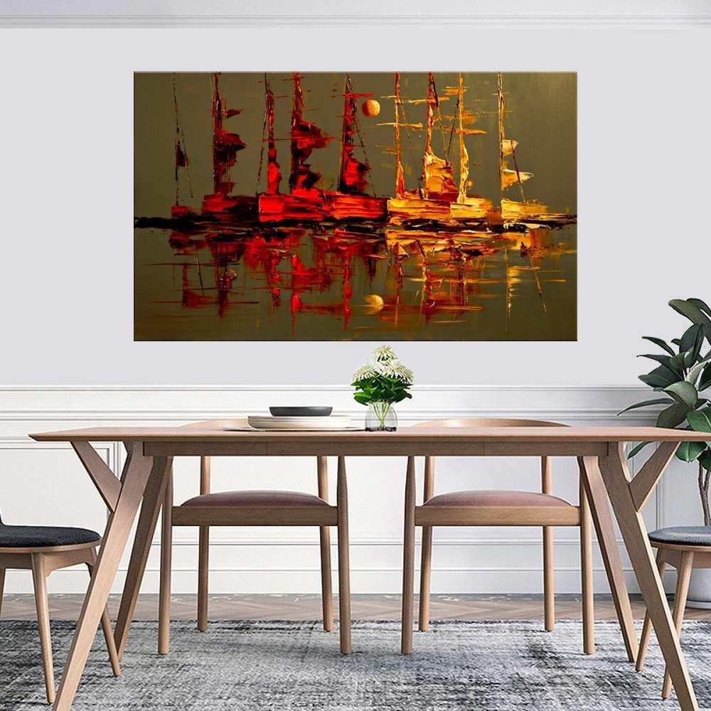 Quadro Pintura Tela Moderna Marinas Cod 2427