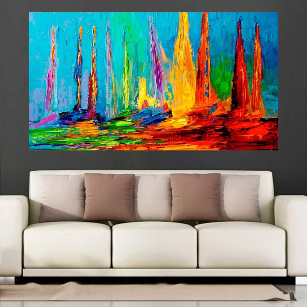 Quadro Pintura Tela Moderna Marinas Cod 2428