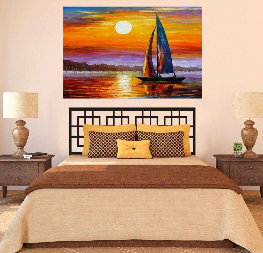 Quadro Pintura Tela Moderna Marinas Cod 2430