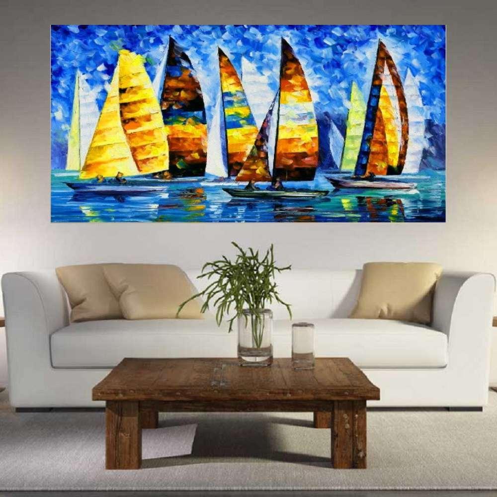 Quadro Pintura Tela Moderna Marinas Cod 2433