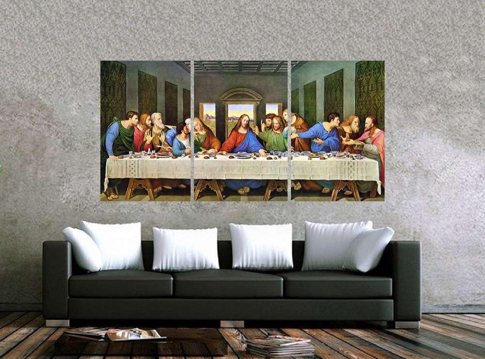 Quadro Santa Ceia Impressão em Canvas Fine Art Cod 7046