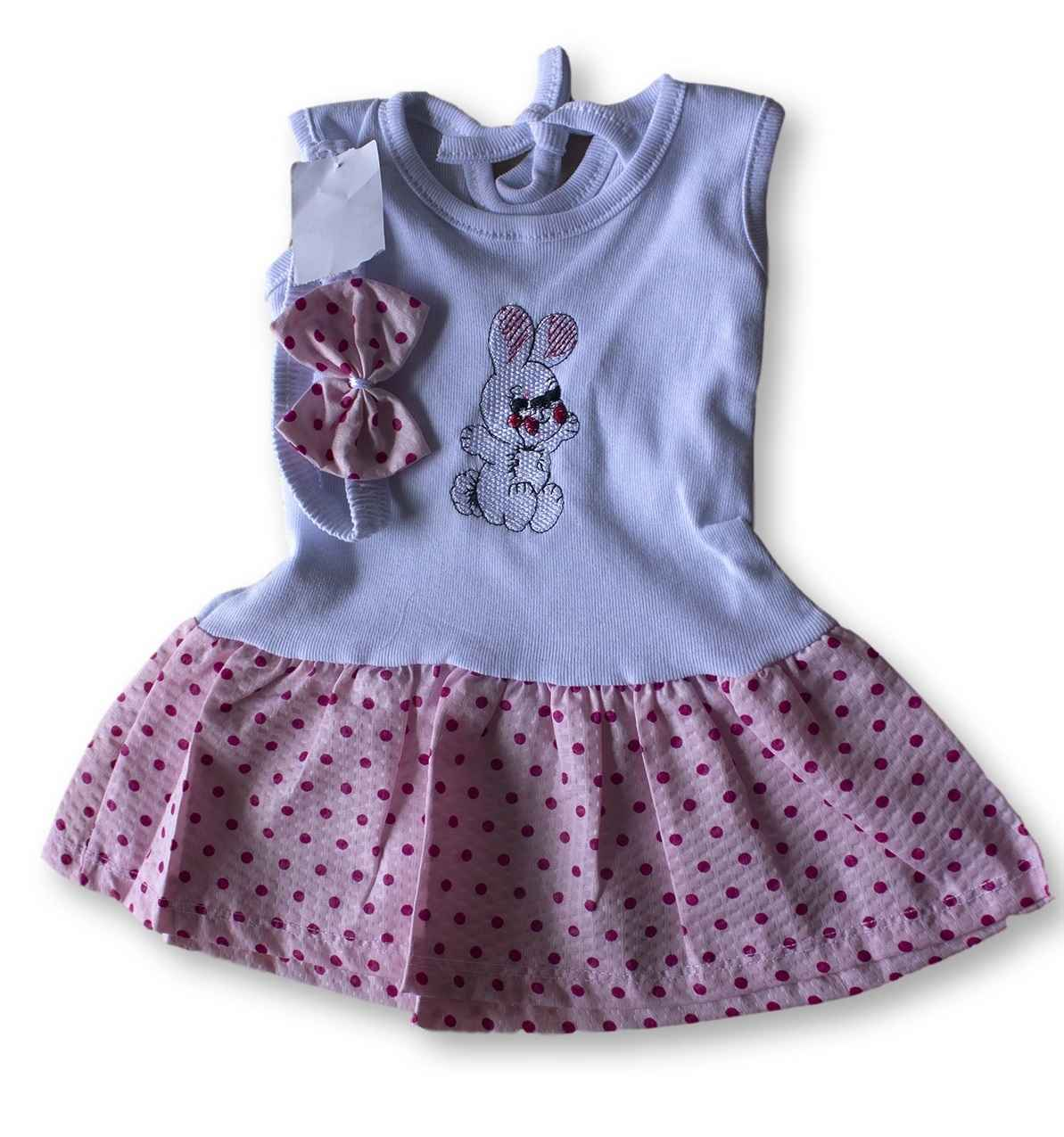 Vestido Com Tiara Bebê Recém Nascido Feminino Menina Cod 9097