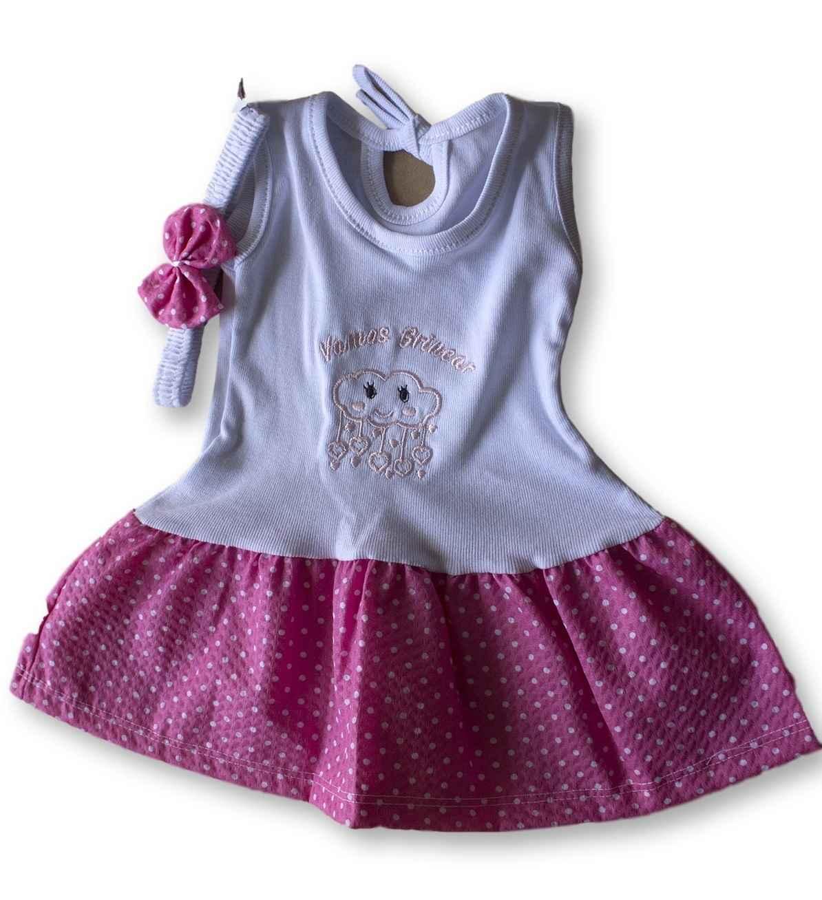 Vestido Com Tiara Bebê Recém Nascido Feminino Menina Cod 9102