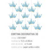 CORTINA DECORATIVA 3D REINADO DO PRINCIPE PCT C/4 UNIDADES
