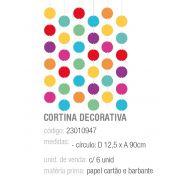 CORTINA DECORATIVA FESTA DAS CORES PCT C/6 UNIDADES