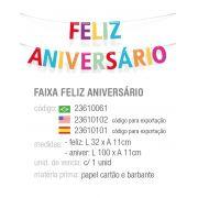 FAIXA FELIZ ANIVERSARIO FESTA DAS CORES PCT C/1 UNIDADE
