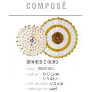 LEQUE REDONDO DECORATIVO COMPOSE BRANCO/OURO M/G PCT C/2 UNIDADES
