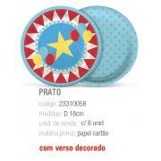 PRATO REDONDO CIRCUS 18CM PCT C/8 UNIDADES