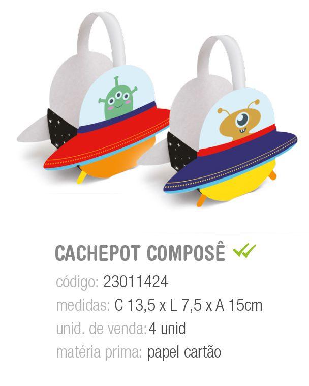 CACHEPOT C/ALCA COMPOSE ASTRONAUTA PCT C/4 UNIDADES