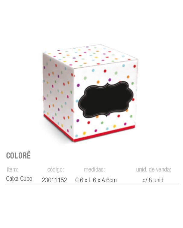 CAIXA CUBO COLORE 6x6x6 PCT C/8 UNIDADES