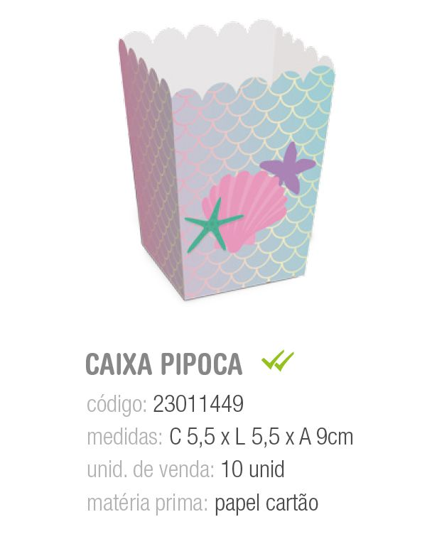 CAIXA P/PIPOCA SEREIA PP 5,5x5,5x9 PCT C/10 UNIDADES