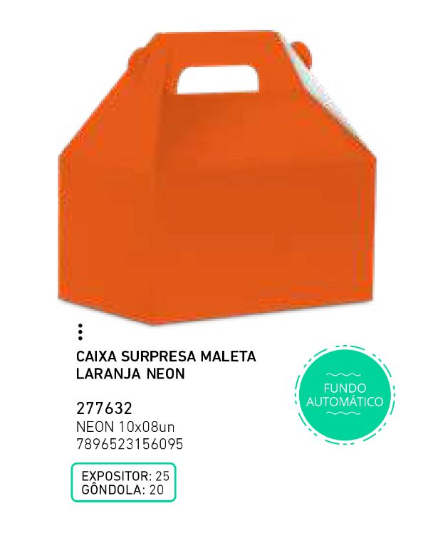 CAIXA SURP MALETA LIVE COLORS LARANJA PCT C/8 UNIDADES