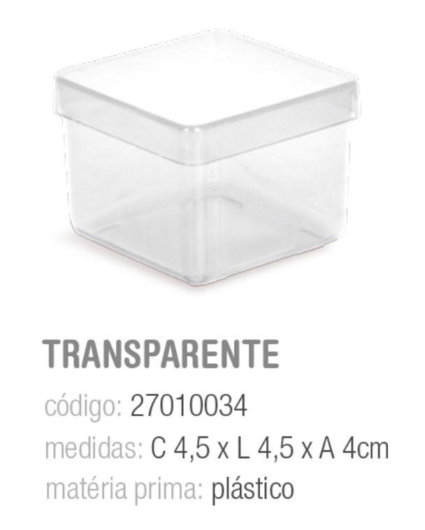 CAIXINHA DE ACRILICO TRANPARENTE 4,5x4,5x4 PCT C/8 UNIDADES