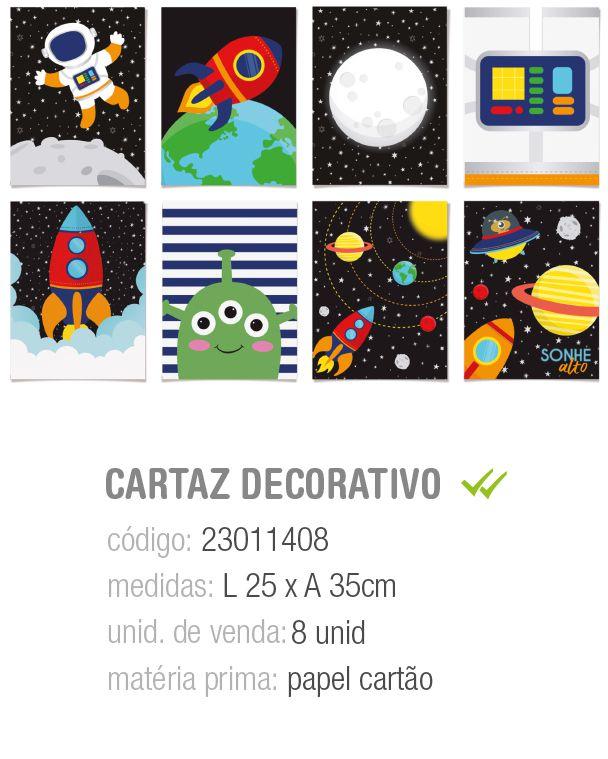 CARTAZ DECORATIVO ASTRONAUTA SORTIDO 25x35 PCT C/8 UNIDADES