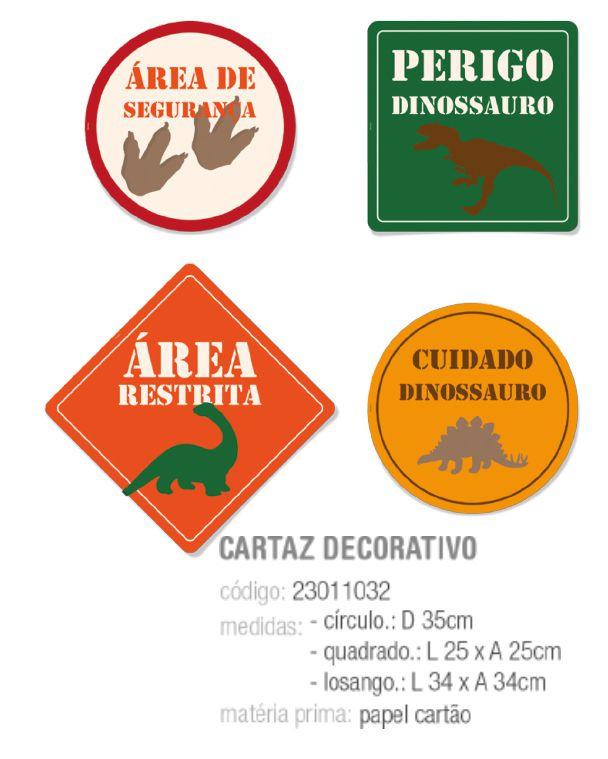 CARTAZ DECORATIVO MUNDO DOS DINOSSAUROS SORTIDO PCT C/8 UNIDADES
