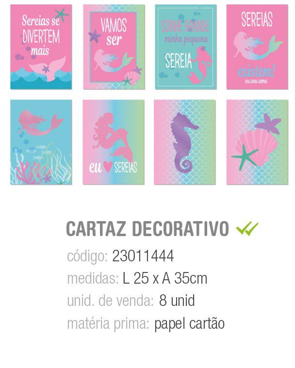 CARTAZ DECORATIVO SEREIA SORTIDO 25x35 PCT C/8 UNIDADES