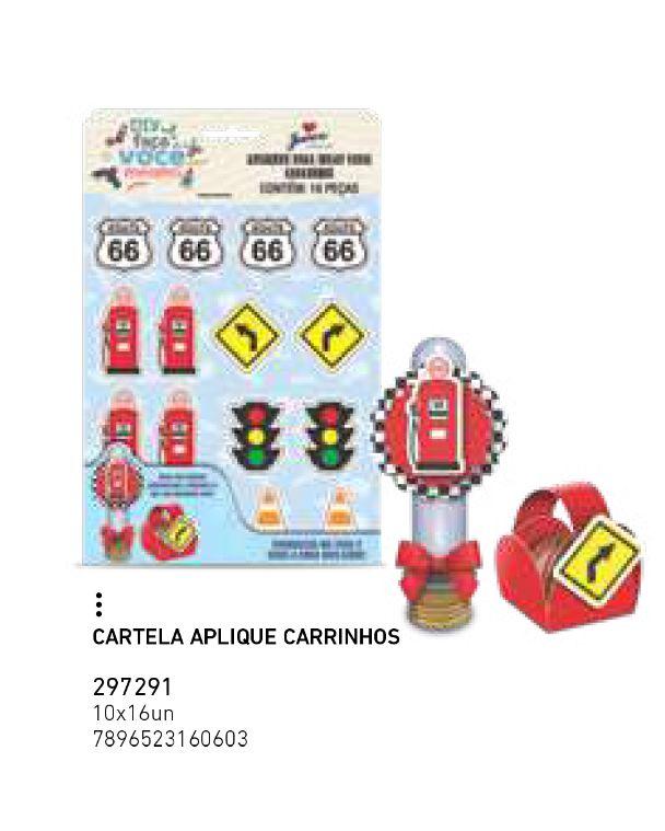 CARTELA APLIQUE CARRINHOS PCT C/16 UNIDADES