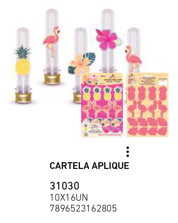 CARTELA APLIQUE FLAMINGO PCT C/16 UNIDADES