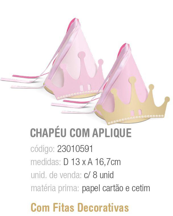 CHAPEU C/APLIQUE COROA COMPOSE REINADO DA PRINCESA PCT C/8 UNIDADES