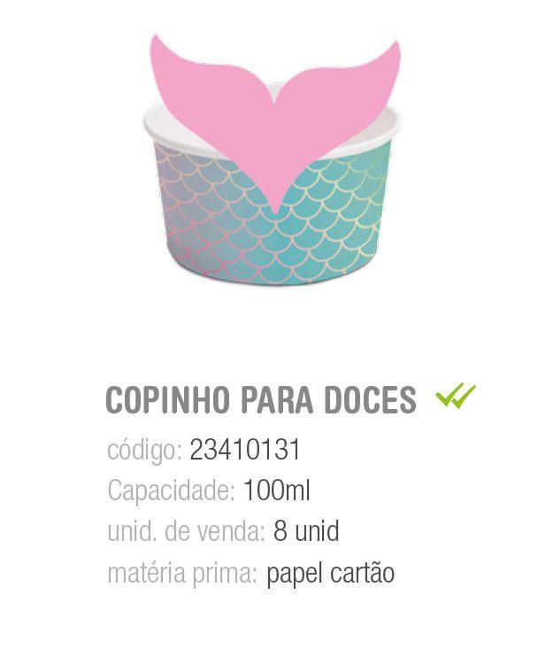 COPINHO P/DOCES C/CINTA CAUDA DA SEREIA 100ML PCT C/8 UNIDADES