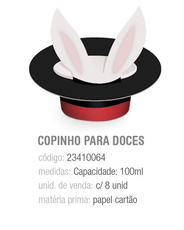 COPINHO P/DOCES CARTOLA CIRCUS 100ML PCT C/8 UNIDADES