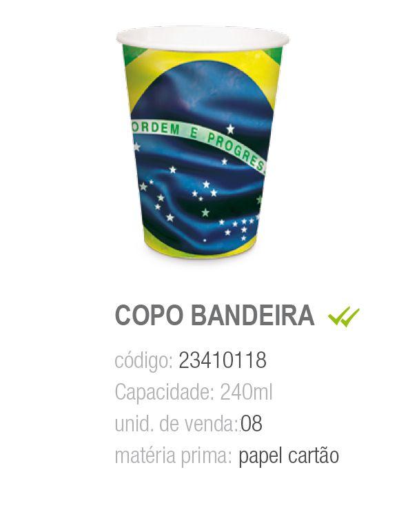 COPO PAPEL BANDEIRA DO BRASIL 240ML PCT C/8 UNIDADES
