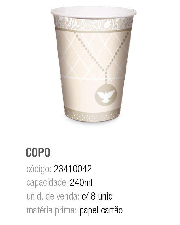 COPO PAPEL BATISMO 240ML PCT C/8 UNIDADES