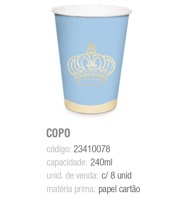 COPO PAPEL REINADO DO PRINCIPE 240ML PCT C/8 UNIDADES