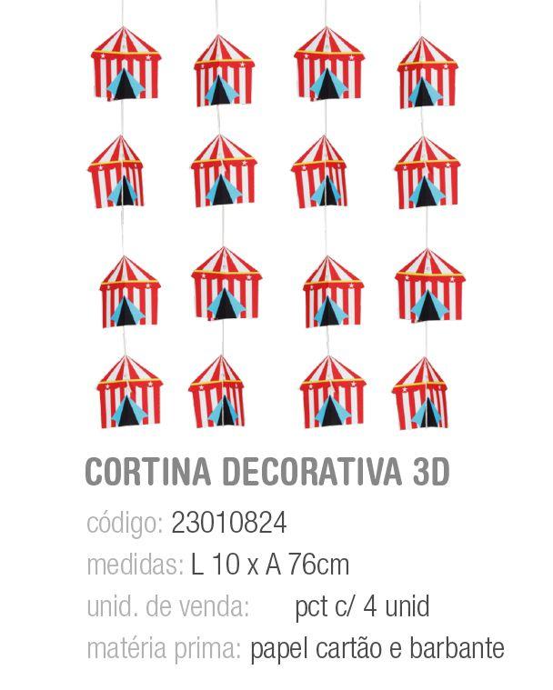 CORTINA DECORATIVA 3D CIRCUS PCT C/4 UNIDADES
