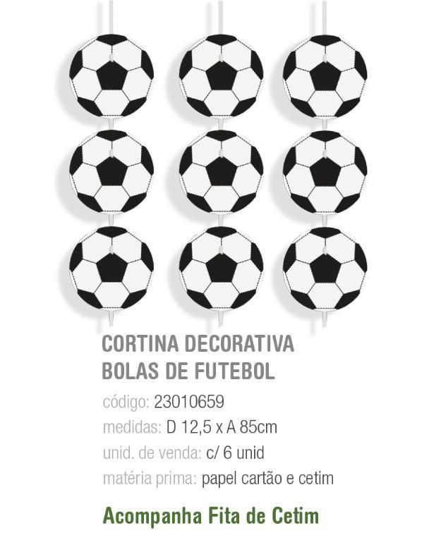 CORTINA DECORATIVA BOLAS DE FUTEBOL PCT C/6 UNIDADES