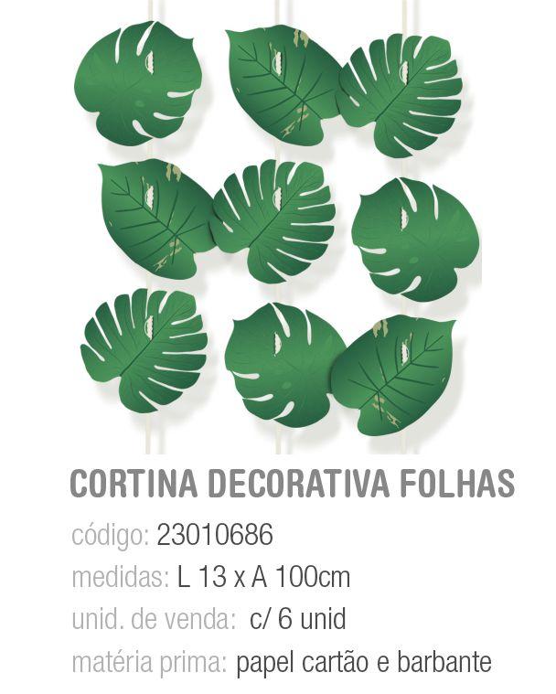 CORTINA DECORATIVA FOLHAS SAFARI PCT C/6 UNIDADES