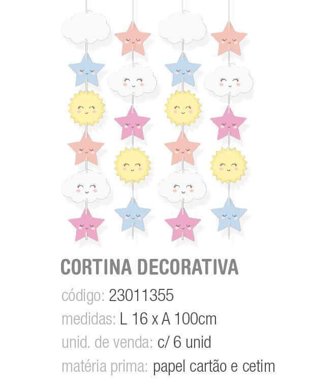 CORTINA DECORATIVA PEDACINHO DO CEU 16x100 PCT C/6 UNIDADES