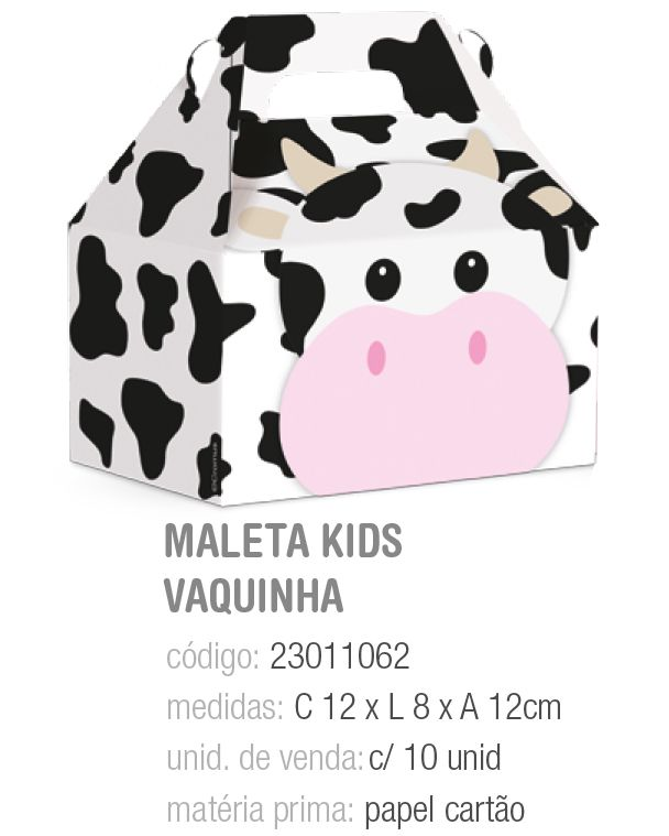 CX MALETA KIDS FAZENDINHA VAQUINHA M 12x8x12 PCT C/10 UNIDADES
