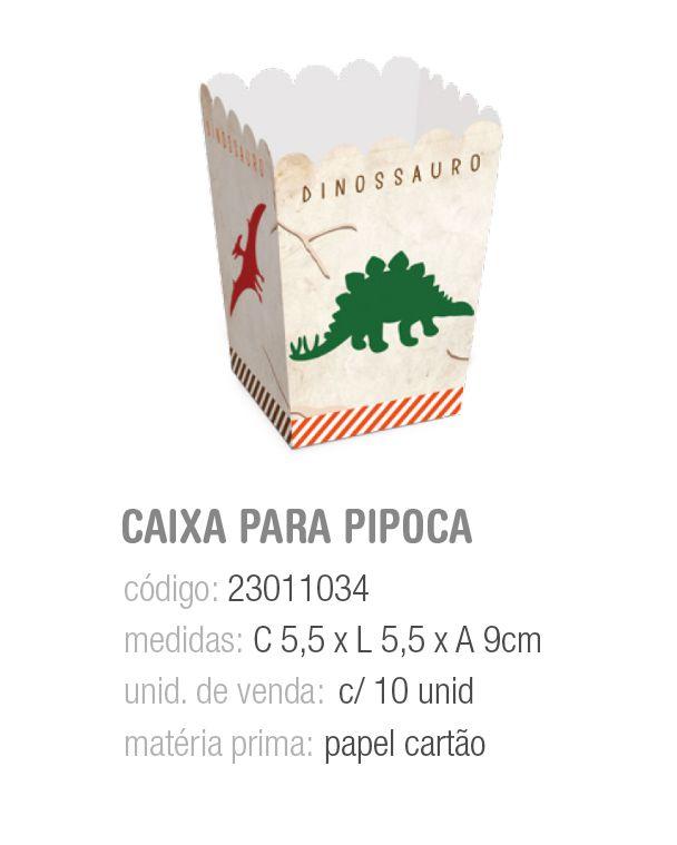 CX P/PIPOCA MUNDO DOS DINOSSAUROS PP 5,5x5,5x9 PCT C/10 UNIDADES