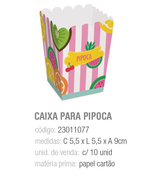CX P/PIPOCA QUITANDINHA PP 5,5x5,5x9 PCT C/10 UNIDADES