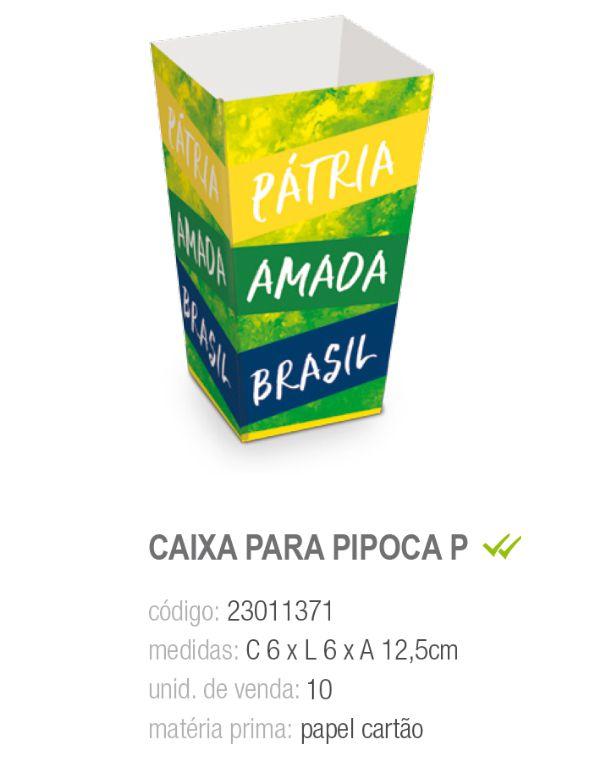 CX P/PIPOCA VAI BRASIL 6x6x12,5 PCT C/10 UNIDADES