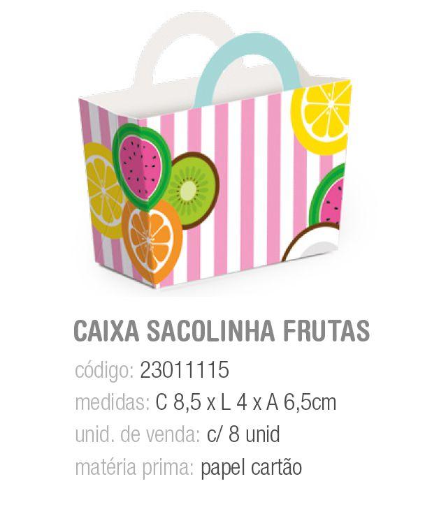 CX SACOLINHA DE FEIRA FRUTAS QUITANDINHA 8,5x4x6,5  PCT C/8 UNIDADES