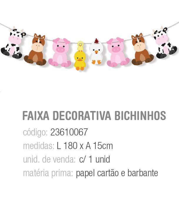 FAIXA DECORATIVA BICHINHOS FAZENDINHA PCT C/1 UNIDADE