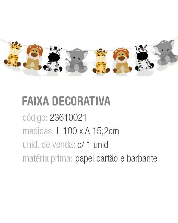 FAIXA DECORATIVA BICHINHOS SAFARI PCT C/1 UNIDADE