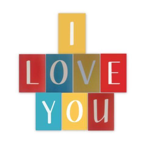 FAIXA - I LOVE YOU - PACOTE COM 8 LETRAS - CORES SORTIDAS