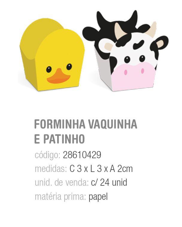 FORMINHA P/DOCE DEC FAZENDINHA VAQUINHA E PATINHO PCT C/24 UNIDADES